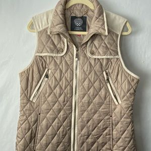 Vince Camuto quilted vest tan beige zip up Large